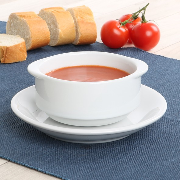 """Porzellan Suppen-Tasse 0,30 l """"Bankett"""" mit Untere 16 cm"""