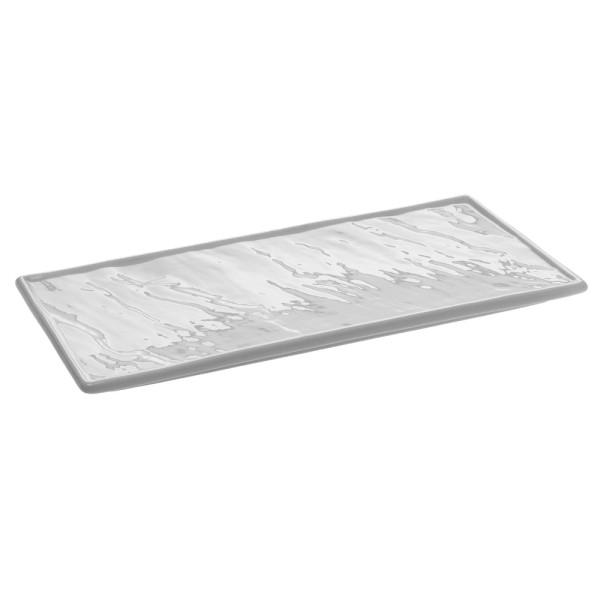 """Porzellanplatte 26 x 12 cm """"Schieferdesign"""" weiß (**)"""