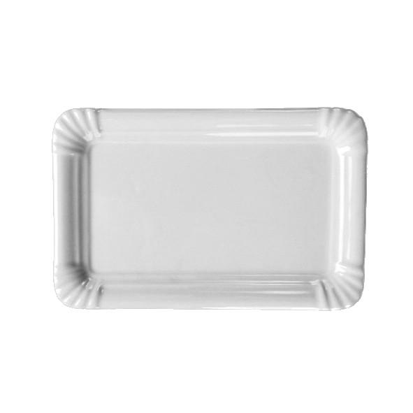 """Porzellan Servierplatte 21 cm """"Einweg-Design"""""""