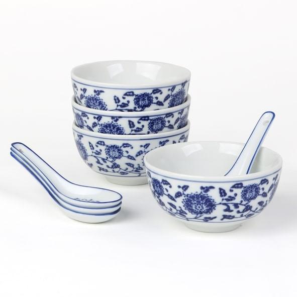 "Reisschale 4er Set mit Löffel ""Qing Hua Ci"" (**), blau"