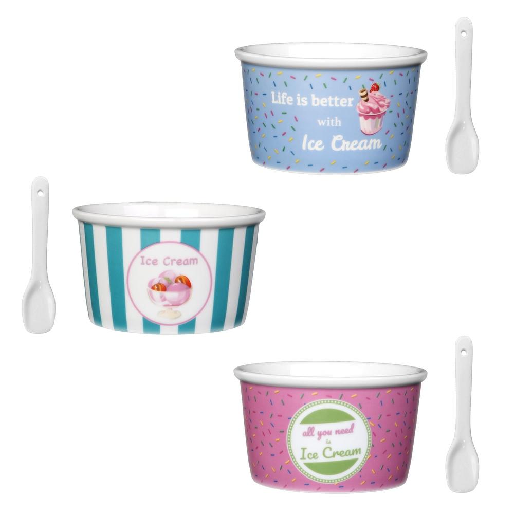 Holst ES 301 FA1 Porcelain Ice Cream Cups with Ice Cream Spoon 6 Units